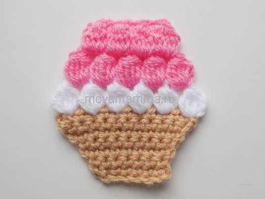 Пирожное крючком. 4 группы розовых столбиков