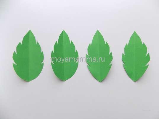 Аппликация Ромашки из бумаги. Листочки из зеленой бумаги