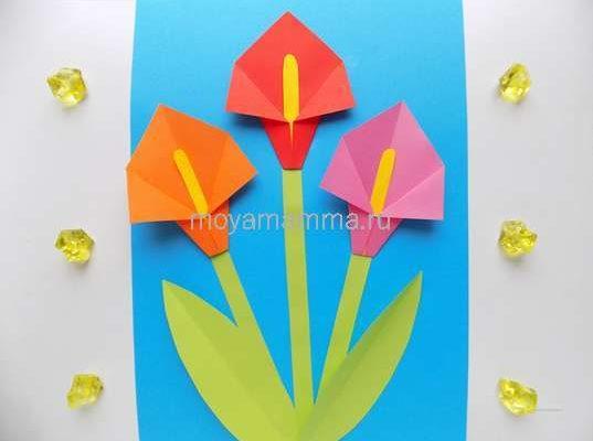 Аппликация с цветами оригами