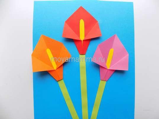 Аппликация с цветами оригами. Закрепление цветочков