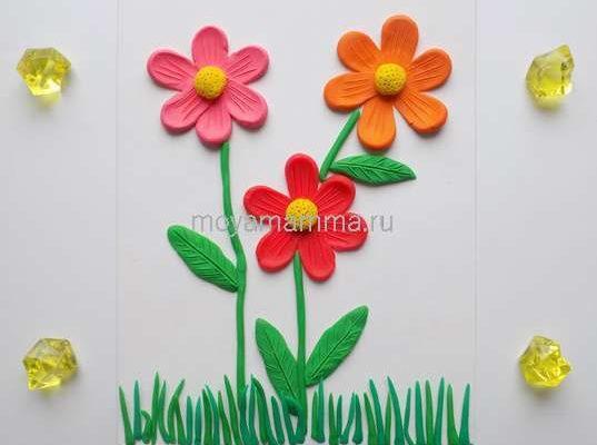 Аппликация Цветы из пластилина