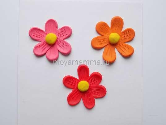 Аппликация Цветы из пластилина. Оформление серединок у цветочков