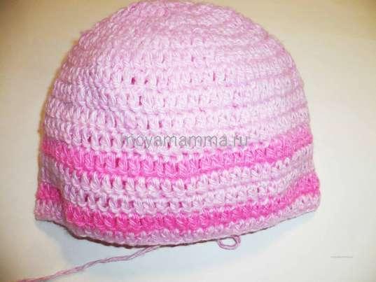 Детская шапочка с бантиками. Вязание основным цветом