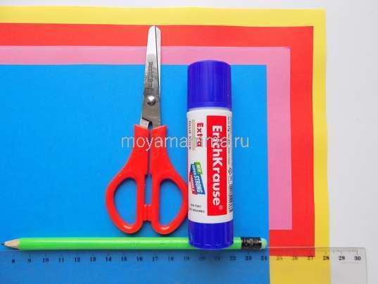 Цветная бумага, картон, клей, ножницы