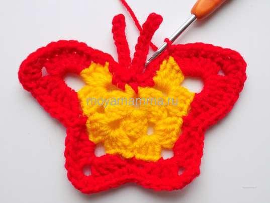 Бабочка крючком. Обвязывание крылышек