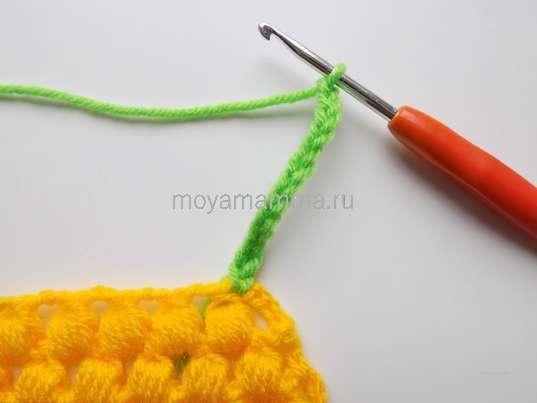 Как связать ананас крючком. 13 возд. петель