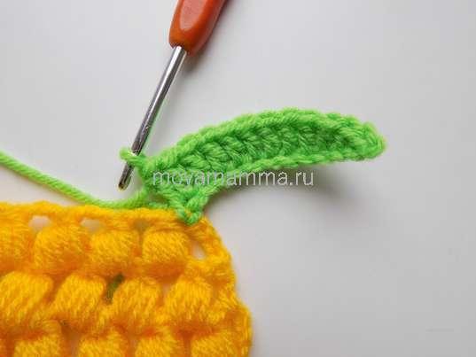 Как связать ананас крючком. 9 столбиков с накидом
