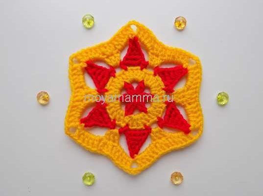 шестиугольный мотив со звездой