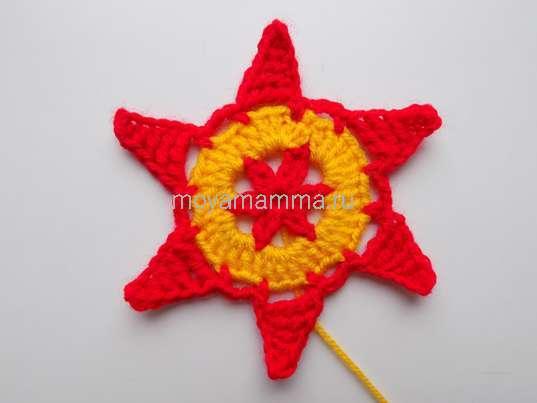 Шестиугольный мотив. 6 лучей звезды по кругу