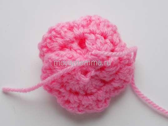 Спиральный цветок крючком. Сборка цветка