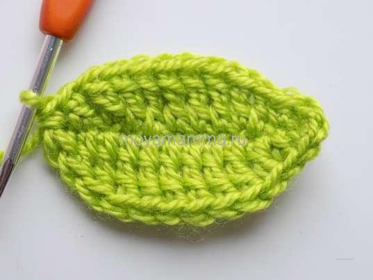 Спиральный цветок крючком. Вязание листочка