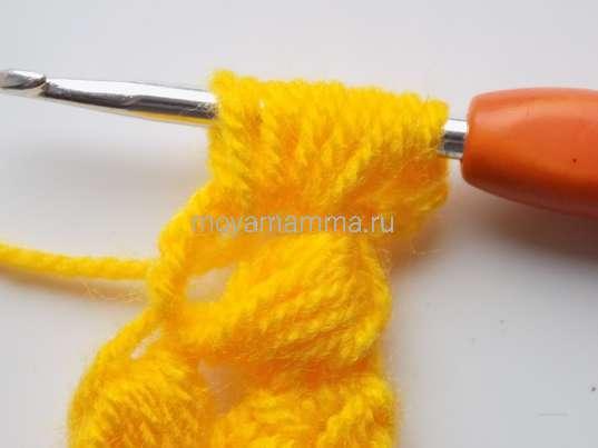 Колосок крючком. Пышный столбик, состоящий из 5 протяжек