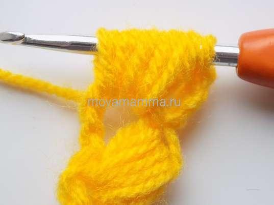 Колосок крючком. 5 протяжек с накидами