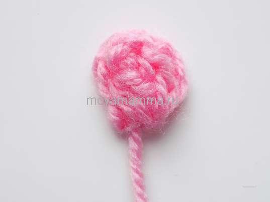 Тесьма крючком для отделки. Розовый бутон