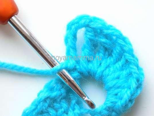 Тесьма вязанная крючком. Закрепление простым столбиком