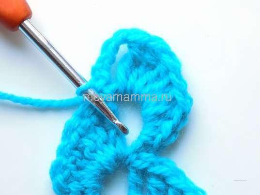 Тесьма вязанная крючком. 4 возд. петли