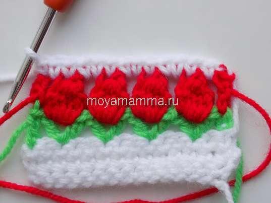 Узор цветочки крючком. вязания пятого ряда одним столбиком