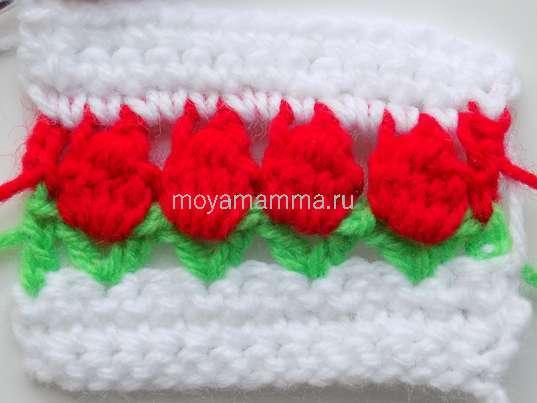 Узор цветочки крючком. 3 ряда белой пряжей