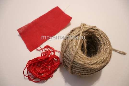 Красный лен, мулине, шпагат