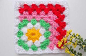 квадратный мотив с цветком
