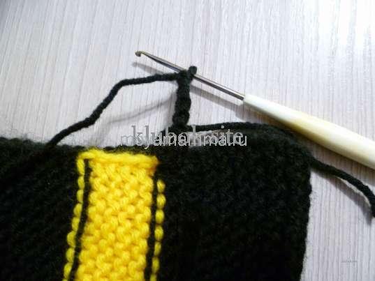 Начало вязания петель для шнуровки