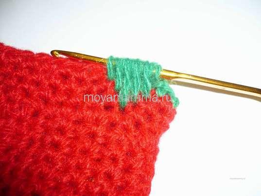 Вязание новогоднего носочка крючком