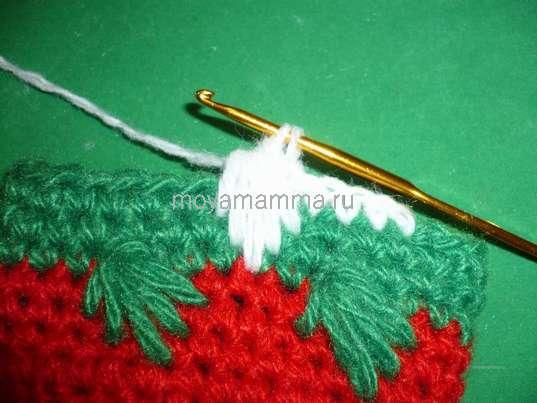 Новогодний носочек крючком. 5 СБН, и выполняем узор «лапки»