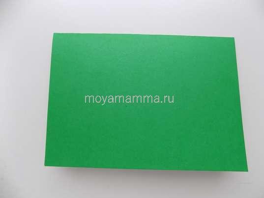 Лист зеленого картона пополам