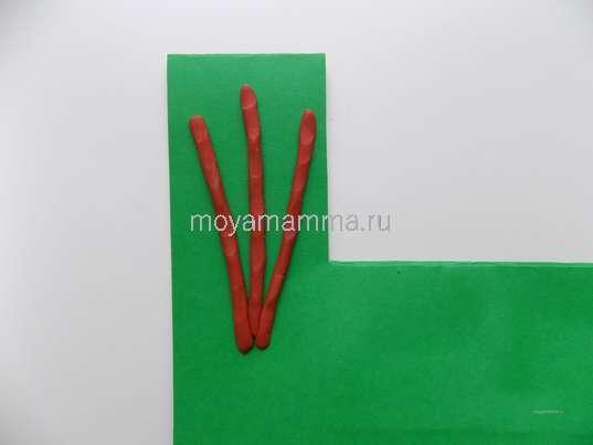 Пластилиновые веточки вербы на картонной основе