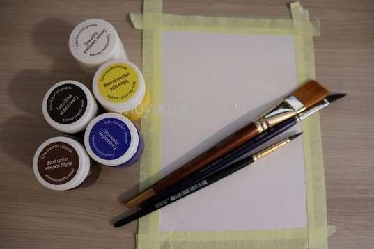 Гуашевые краски, кисти, лист белой бумаги