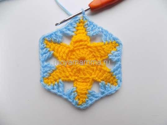 Шестиугольный мотив цветком. Обвязывание желтой звезды