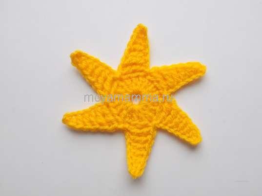 Шестиугольный мотив цветком. Звезда из 6 лучиков