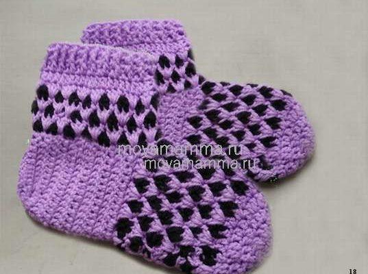 теплые носки крючком