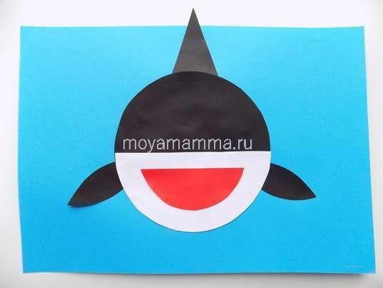 "Аппликация ""Акула"". Оформление пасти акулы"