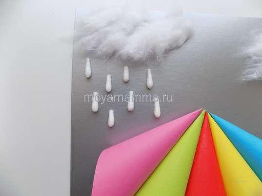 """Аппликация """"Дождь"""". Приклеивание капелек дождя"""