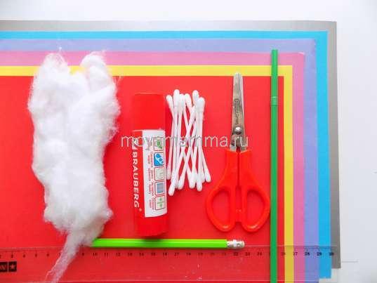 Цветная бумага, ватные палочки, клей, картон, вата, циркуль