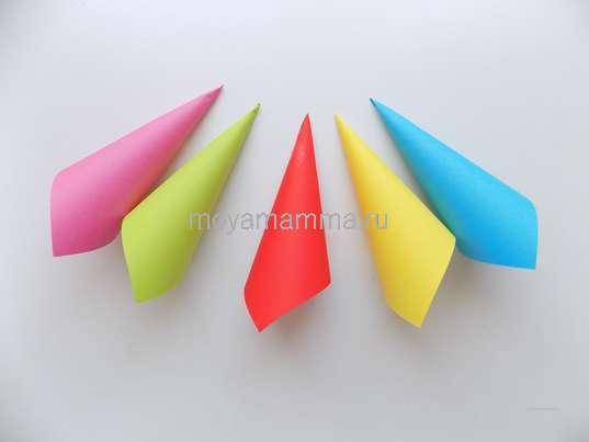 5 разноцветных заготовок для зонтика