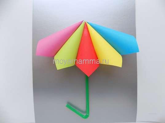 Приклеивание разноцветной части зонтика