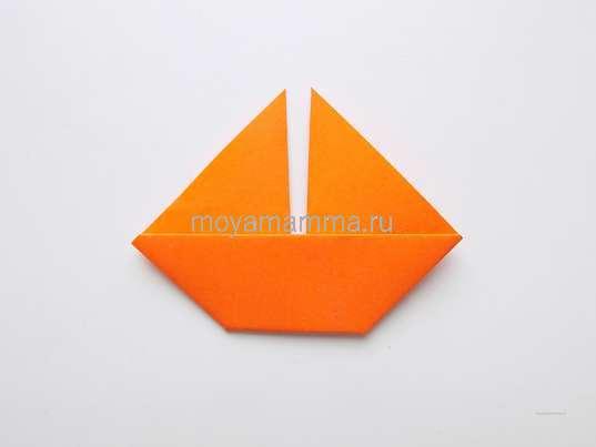 Аппликация без ножниц. Оранжевый кораблик
