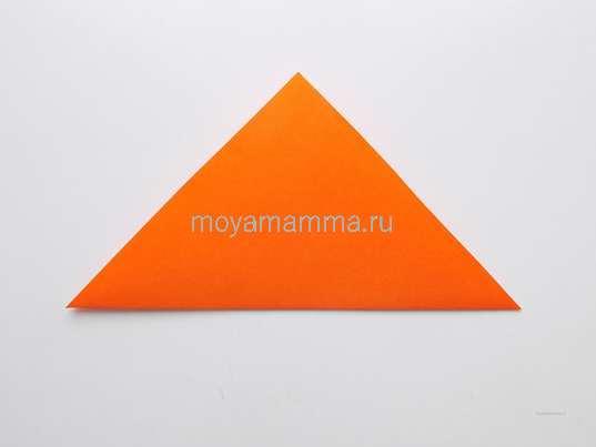 Диагональный сгиб на квадрате