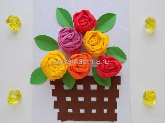Аппликация с цветами из салфеток