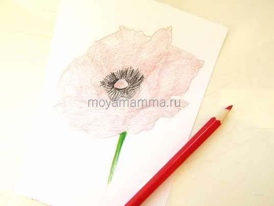 Рисование красным карандашом