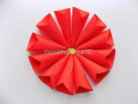 Цветок из бумажных кругов. Изготовление цветка с лепестками из кругов