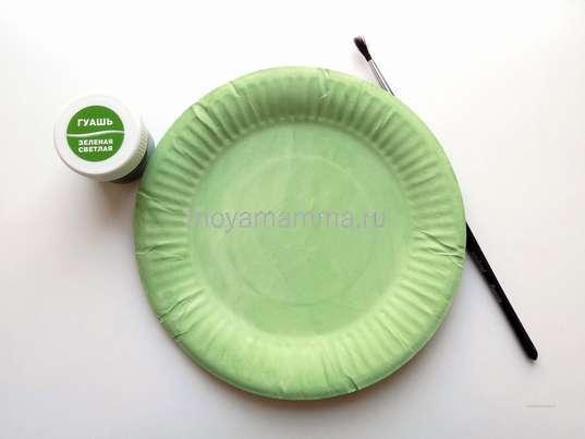Тарелка окрашенная в зеленый цвет