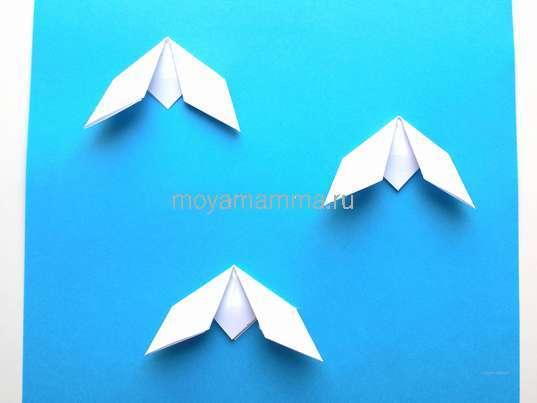 Подснежники оригами. 3 подснежника оригами