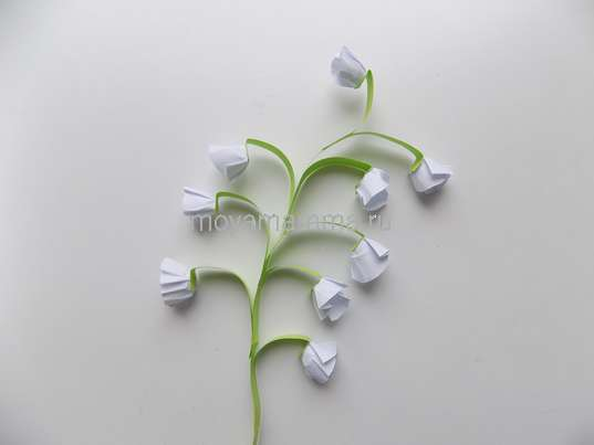 Аппликация Ландыши из бумаги. Цветок ландыша