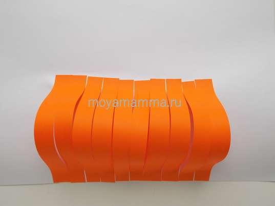 Приклеивание оранжевых заготовок