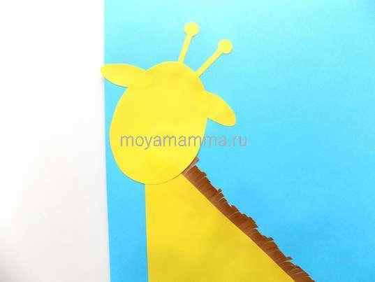 Аппликация жираф. Сборка головы жирафа