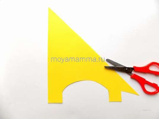 Заготовка для жирафа из желтой бумаги