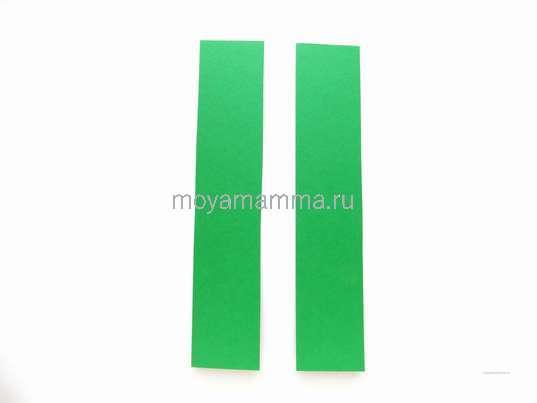 2 полоски из зеленого картона